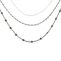 Collier Argent BROADWAY 3 rangs bicolore noir 42+5cm