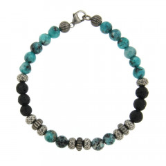 Bracelet Argent ANTIKA D6 Turquoise synt. 22cm