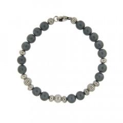 Bracelet Argent ANTIKA D8 Hématite mat -  22cm