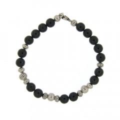 Bracelet Argent ANTIKA D8 Onyx Mat  L-  22cm