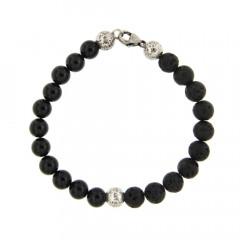 Bracelet Argent ANTIKA D8 Agate Noire/Lave 22cm