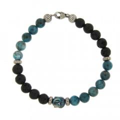 Bracelet Argent ANTIKA D8 Bouddha - Apatite 22cm