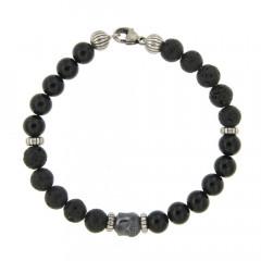Bracelet Argent ANTIKA D8 Bouddha - Agate Noire 22cm
