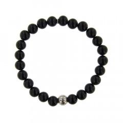Bracelet Argent ANTIKA D8 - LASTIC Agate noire 8mm