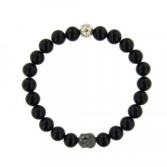 Bracelet Argent ANTIKA D8 - LASTIC Boudha - Agate Noire 8mm