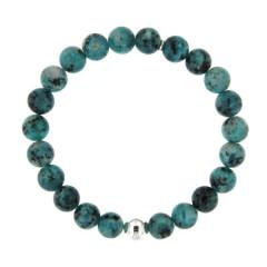 Bracelet Argent ANTIKA D8 - LASTIC-1 Boule Argent - Turquoise synt. 8mm