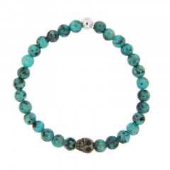 Bracelet Argent ANTIKA D6 - LASTIC-1 boules Argent Tête/mort - Turquoise syn 6mm