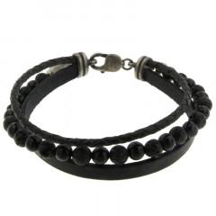 Bracelet Argent ANTIKA 2 cuirs 1 Pierres - Multi Lave-Agate noire