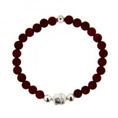 Bracelet Argent CHAKRA N°1 - LASTIC B6 Bouddha - Oeil tigre taureau 6mm