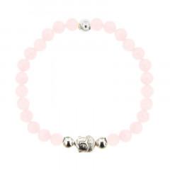 Bracelet Argent CHAKRA N°4 - LASTIC B6 Bouddha - Quartz rose