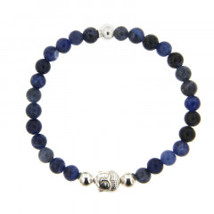 Bracelet Argent CHAKRA N°6 - LASTIC B6 Bouddha - Sodalite