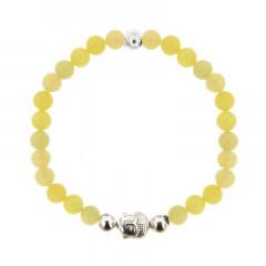 Bracelet Argent CHAKRA N°3 - LASTIC B6 Bouddha - Serpentine