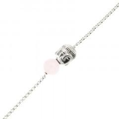 Bracelet Argent CHAKRA N°4 - Bouddha/Quartz rose 18+2cm