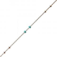 Bracelet Argent CH-Mini Boules 1/1 - Email Turquoise 16+2cm
