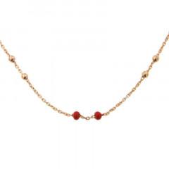Bracelet Argent CH-Mini Boules 1/1 - Email Corail 16+2cm