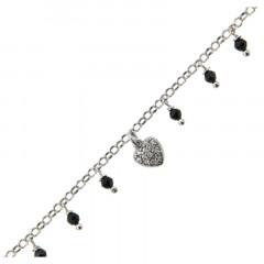 Bracelet Argent COEUR OZ + PP perles noire 16+3cm