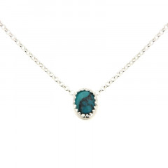 Collier Argent KHEOPS 8/6 turquoise 40cm