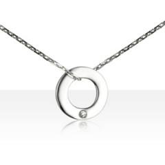 """Collier """"ECLAT"""" Argent 1 Diamant CERCLE"""