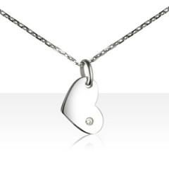 "Collier ""ECLAT"" Argent 1 Diamant COEUR Pendants"