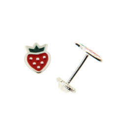 Boucles d'oreilles FRAISE laque Rose/Verte Argent - Vis