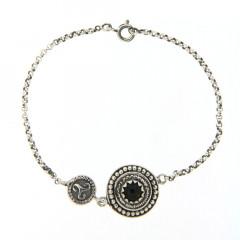 Bracelet Argent KELT Duo Perlée CAB/06 Onyx