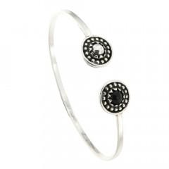 Bracelet Argent KELT JONC perlée CAB/06 Onyx