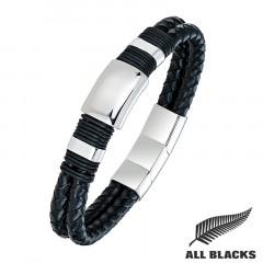 Bracelet CUIR TRESSE NOIR PLAQUE ACIER ALL BLACKS
