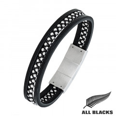Bracelet CUIR PERLES ACIER ALL BLACKS
