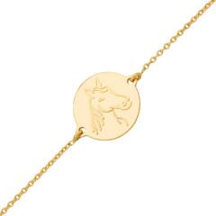 Bracelet Médaille cheval Or 750°°° - 16cm