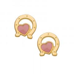Boucles d'oreilles Fer à cheval Coeur rose Or 750°°°