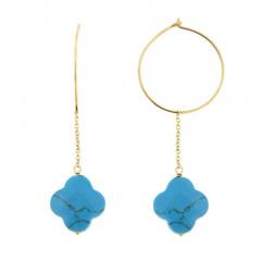 Créoles Plaqué Or FIL-GALEA TREFLE - Turquoise traitée - L: 5.5cm