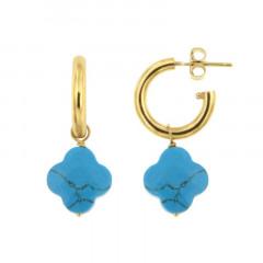 Créoles Plaqué Or FR3-GALEA TREFLE - Turquoise traitée - L: 2.6cm