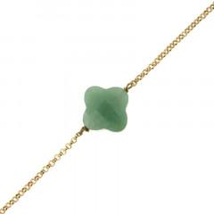 Bracelet Plaqué Or GALEA TREFLE - Aventurine 16+3cm