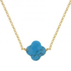 Collier Plaqué Or GALEA TREFLE - Turquoise traitée 38+4cm