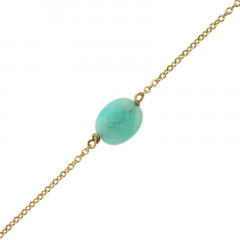 Bracelet Plaqué Or GALEA OVALE FACETTE - Amazonite - L: 16+ 3cm
