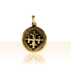 Médaille Plaqué Or FOND STRIEE CROIX OCCIT DECOU