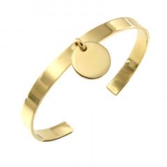 Bracelet Plaqué Or Jonc PLAK   6mm - Médaille D15