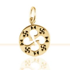 Médaille PLAQUE OR GRAVEE/CROIX BASQUE DECOUPEE