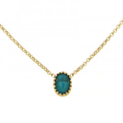 Collier Plaqué Or KHEOPS 8/6 turquoise 40cm