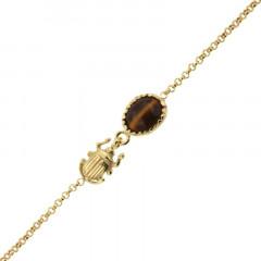 Bracelet Plaqué Or KHEOPS / Scarabée Oeil de tigre16+2,5cm