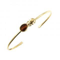 Bracelet Plaqué Or KHEOPS JONC Scarabée 8/6 Oeil de tigre