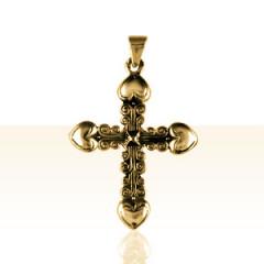 Croix Plaqué Or 4 COEURS
