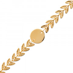 Bracelet  Plaqué Or FEUILLE Laurier OLYMPE