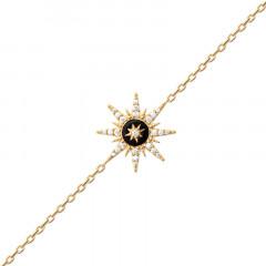 Bracelet Rose des vents Plaqué Or Agate Noire Oz