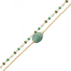 Bracelet Plaqué Or AVENTURINE Double rang