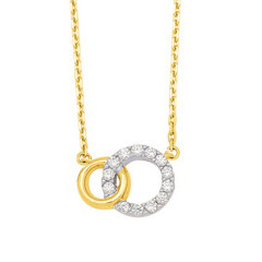 Collier Double cercle OZ Plaqué Or 42cm