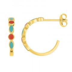 Boucles d'oreilles INCAS Email Corail et Turquoise
