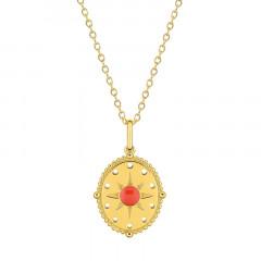 Collier Médaille SOLEIL rouge Corail