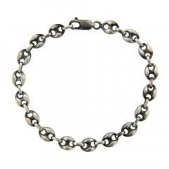 Bracelet grain de café Argent patiné 7mm