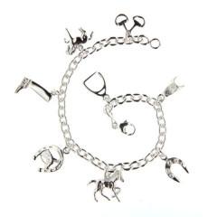 Bracelet Argent 8 Breloques cheval